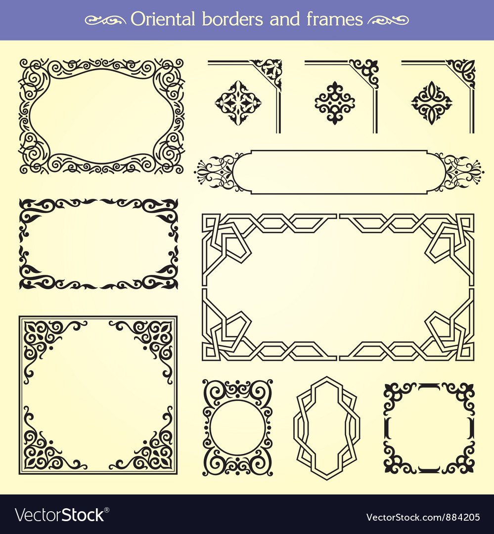 Oriental asian borders and frames vector | Price: 1 Credit (USD $1)