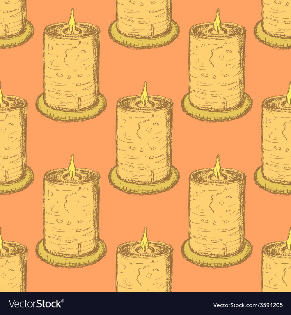 Sketch cute candle in vintage style vector | Price: 1 Credit (USD $1)