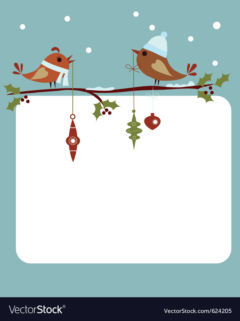 Template of christmas card with birds vector | Price: 1 Credit (USD $1)