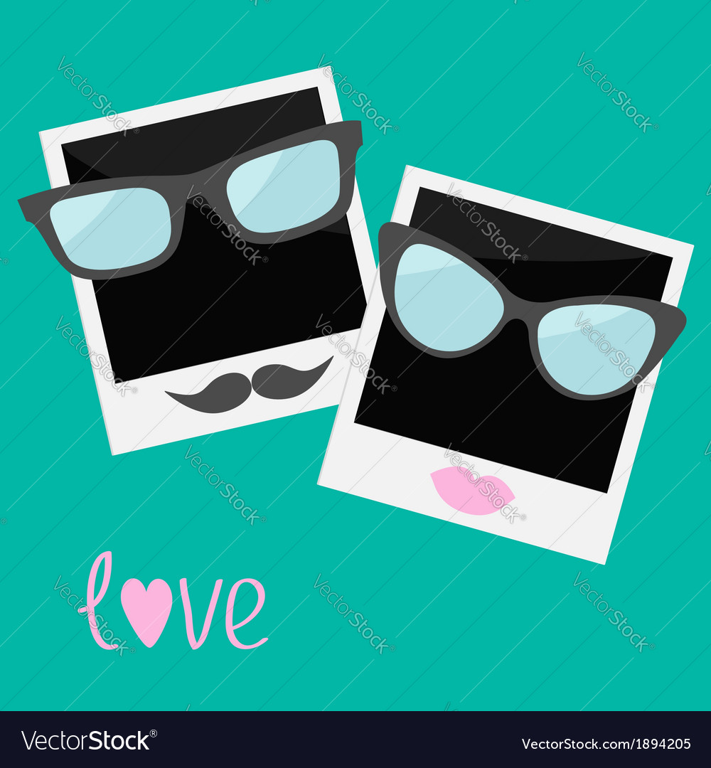 Two instant photos with lips moustache and glasses vector | Price: 1 Credit (USD $1)