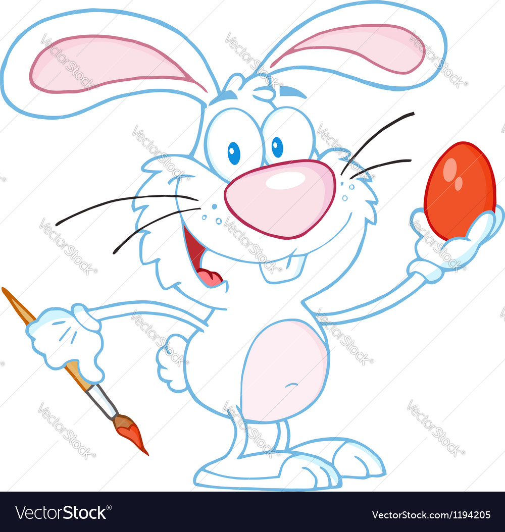 White rabbit painting easter egg vector | Price: 1 Credit (USD $1)