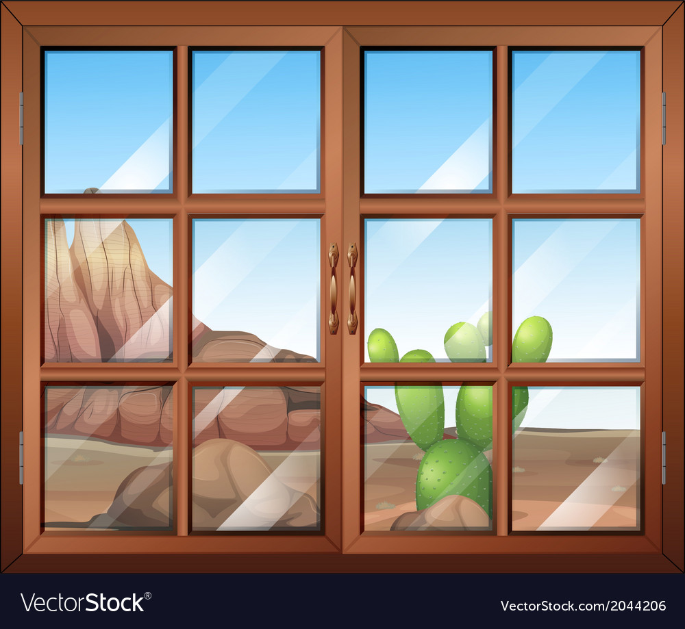A window with a view of the cactus outside vector | Price: 1 Credit (USD $1)