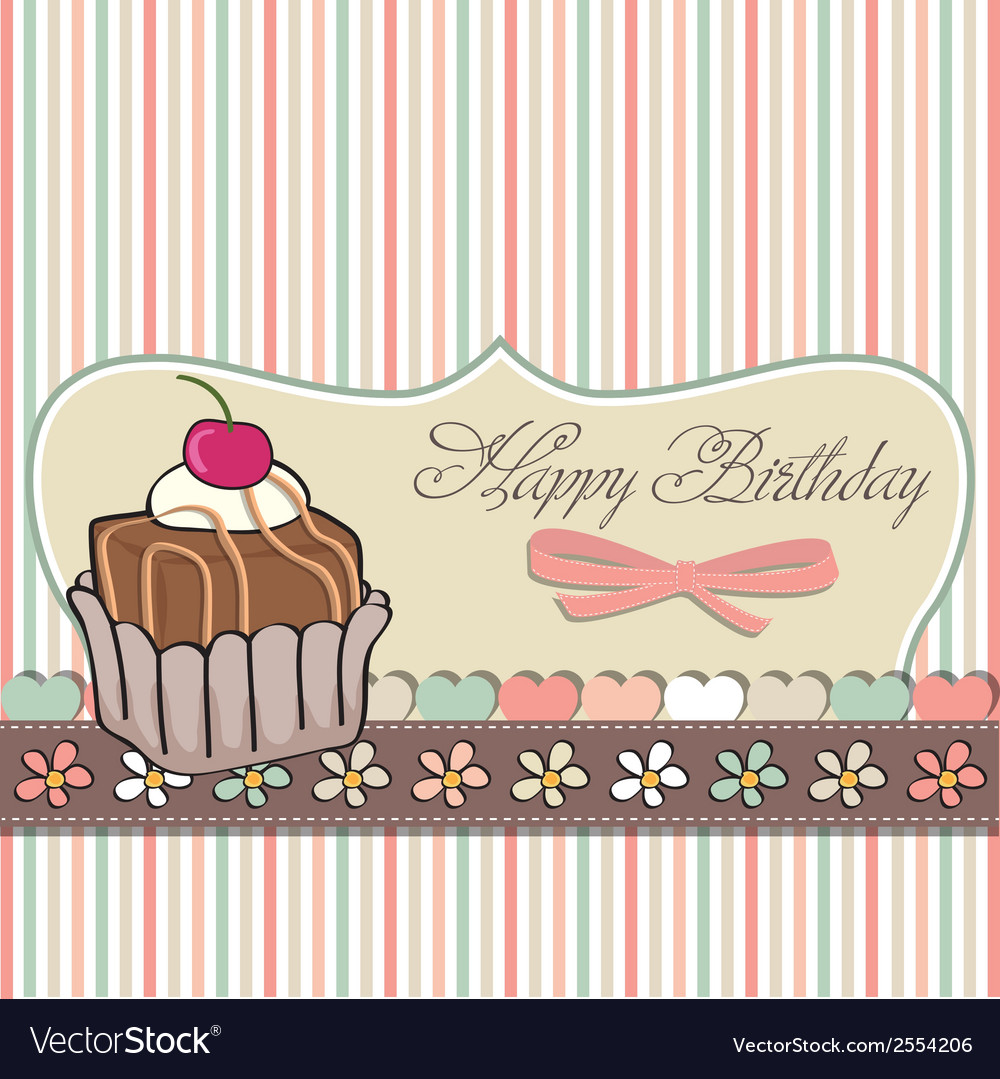 Birthday card with cupcake vector | Price: 1 Credit (USD $1)