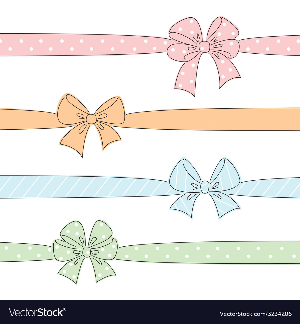 Bows and ribbons set vector | Price: 1 Credit (USD $1)
