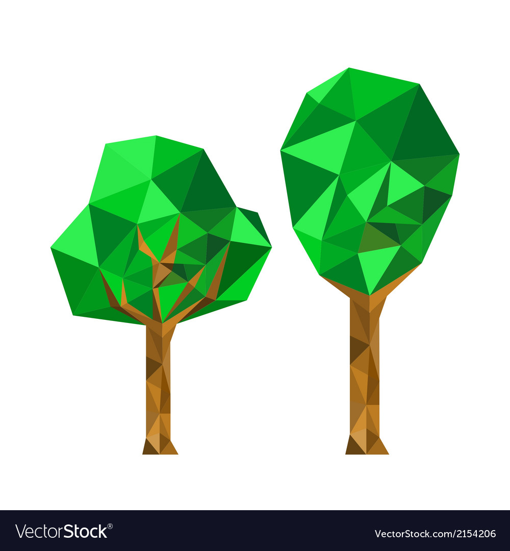 Collection of 2 different origami trees vector | Price: 1 Credit (USD $1)