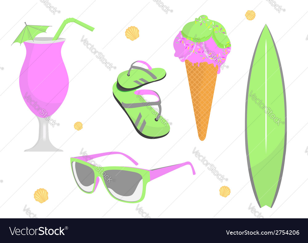 Collection of beach and summer elements vector | Price: 1 Credit (USD $1)