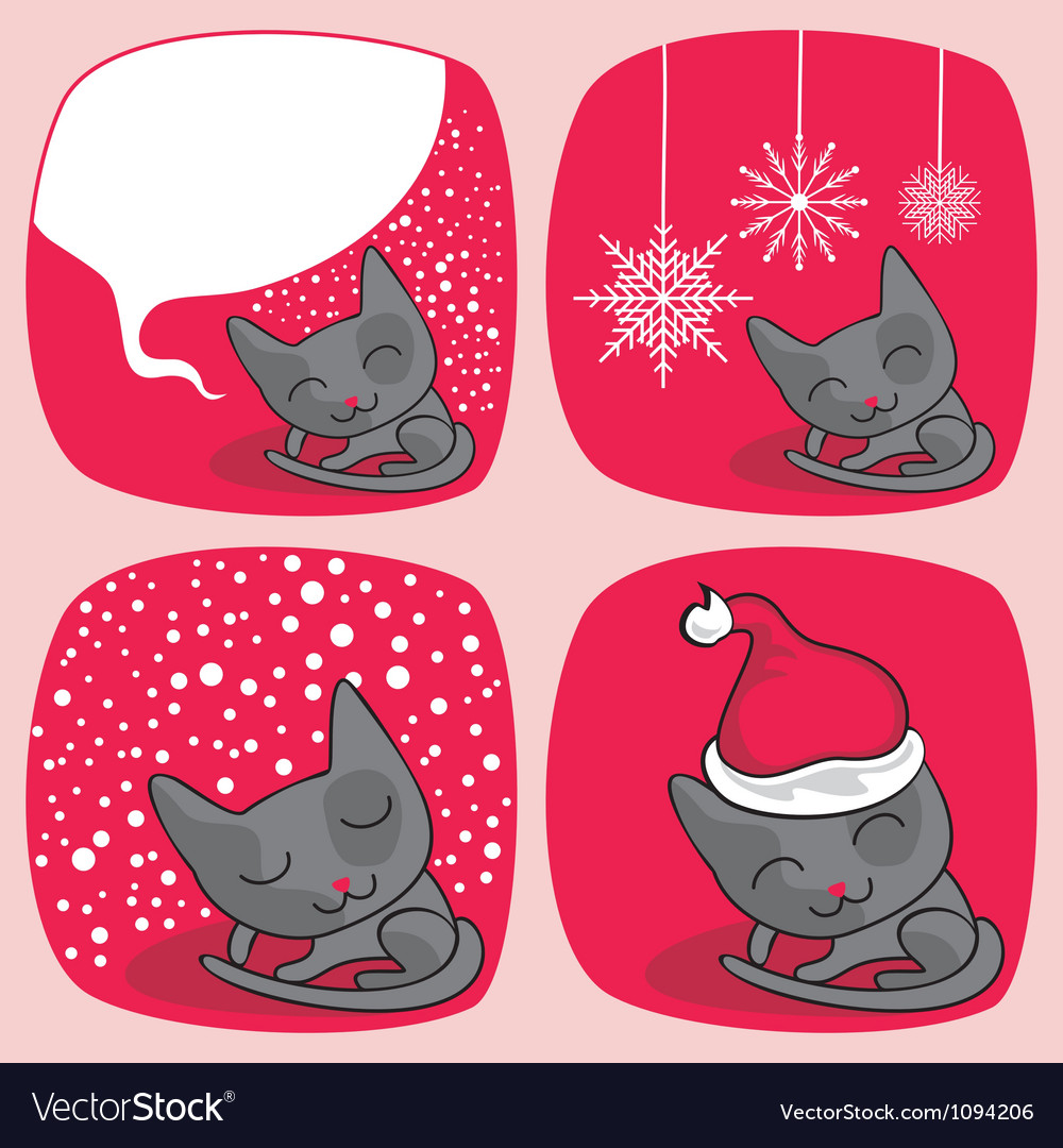 Cute christmas cats set vector | Price: 1 Credit (USD $1)