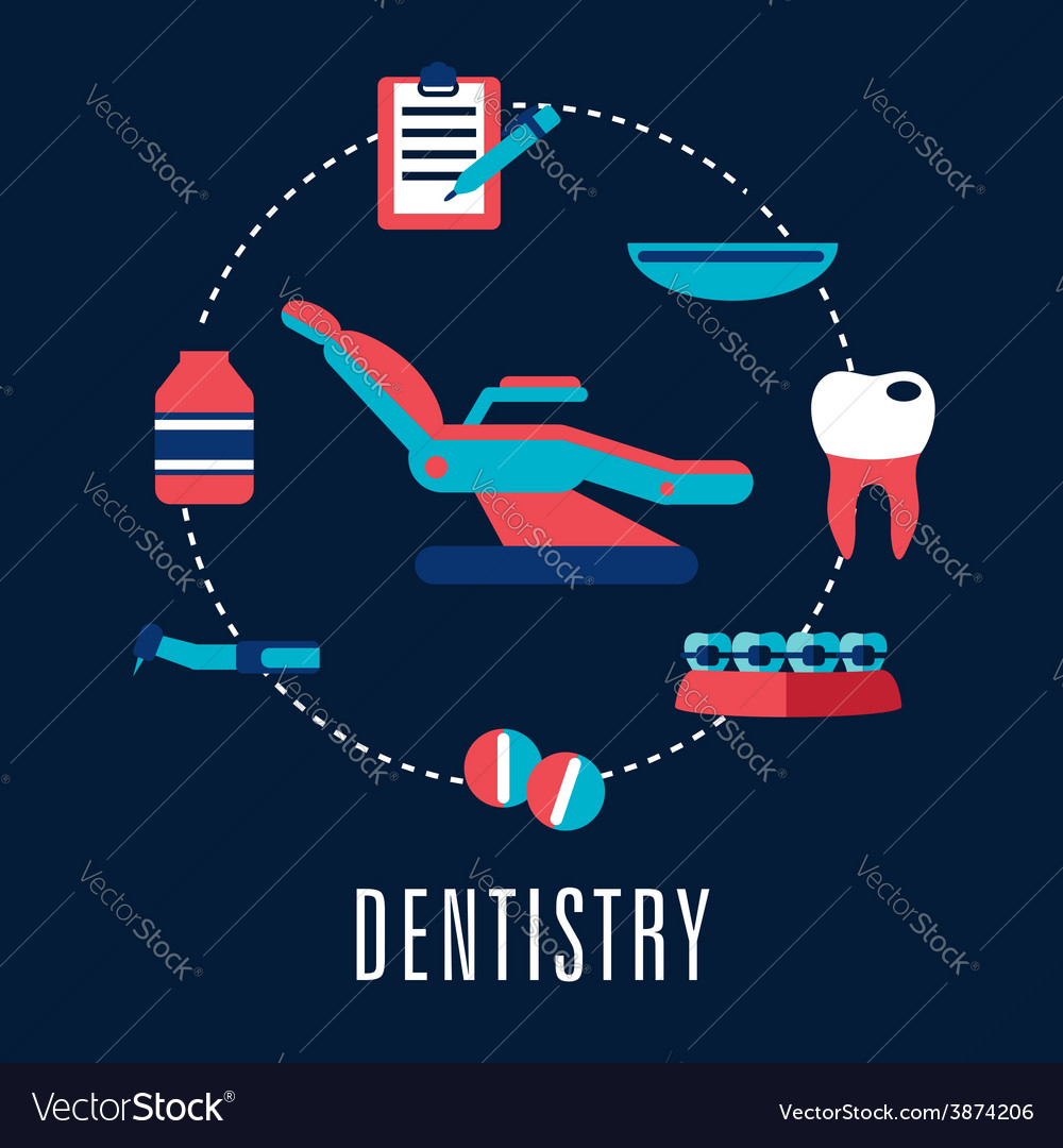 Dentistry concept with dental chair and medical vector | Price: 1 Credit (USD $1)