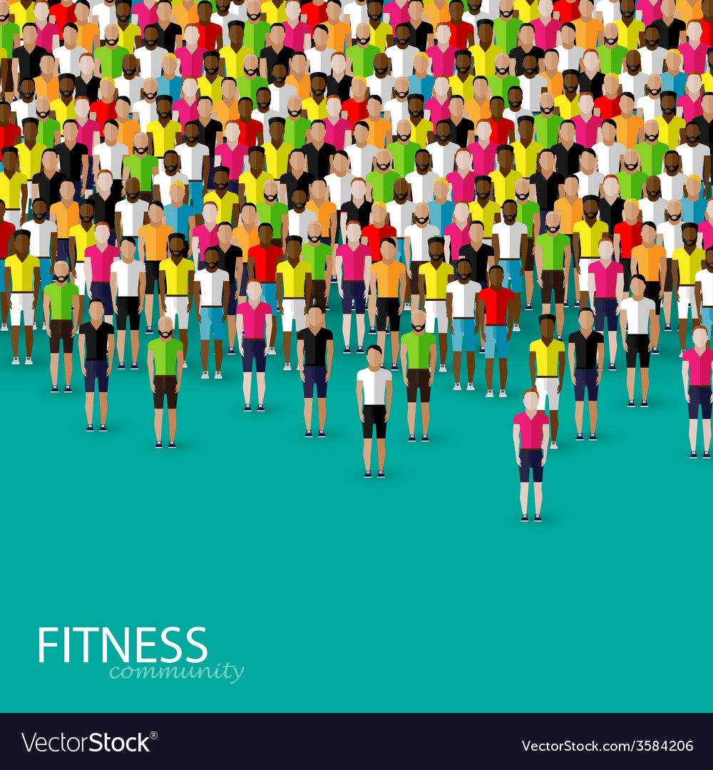 Flat of a large crowd of men fitness community vector | Price: 1 Credit (USD $1)