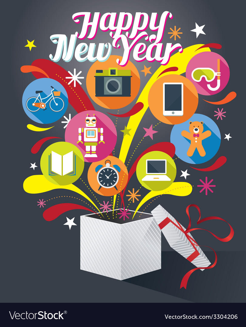 Gift box with happy new year text and various icon vector | Price: 1 Credit (USD $1)