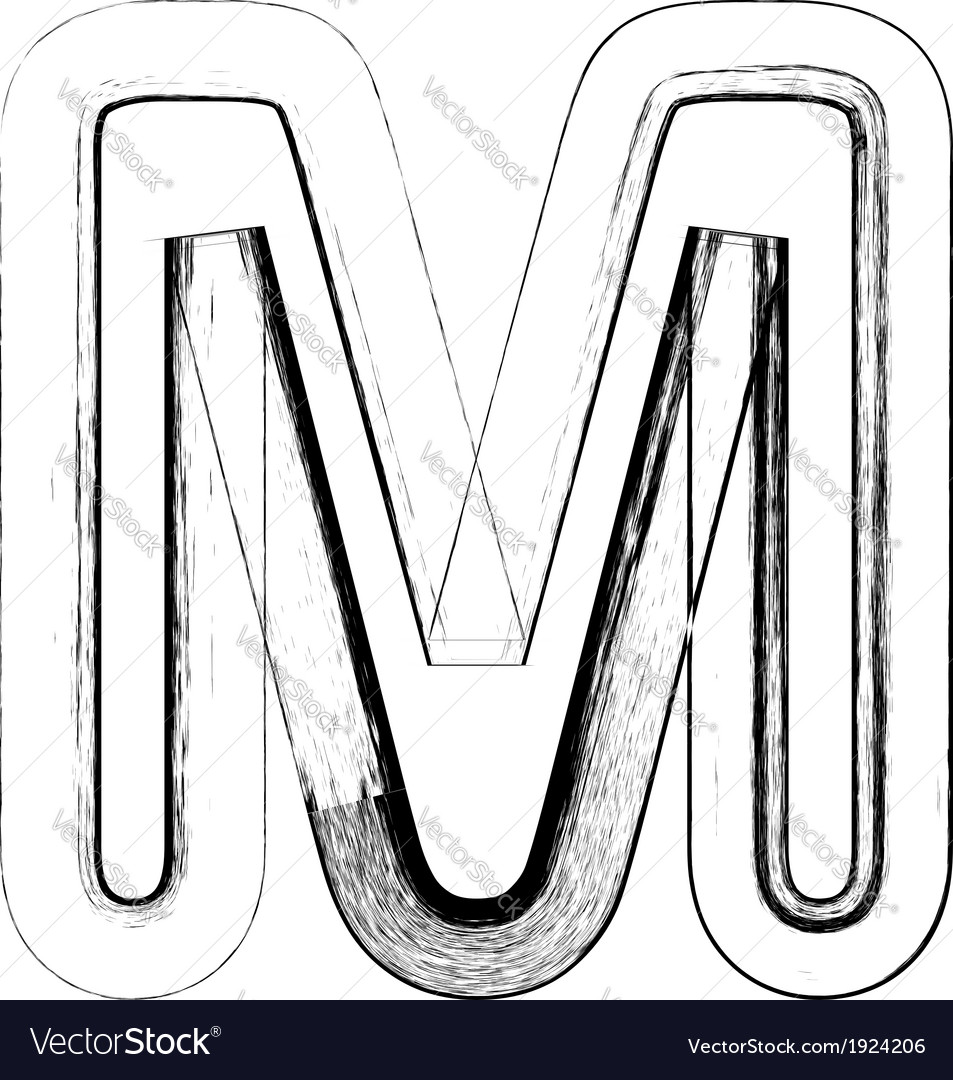 Grunge font letter m vector | Price: 1 Credit (USD $1)