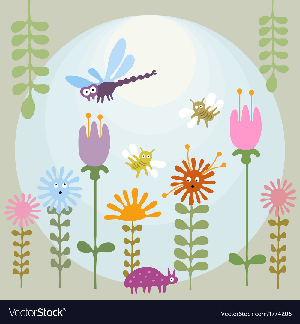 Insects in flower garden vector | Price: 1 Credit (USD $1)