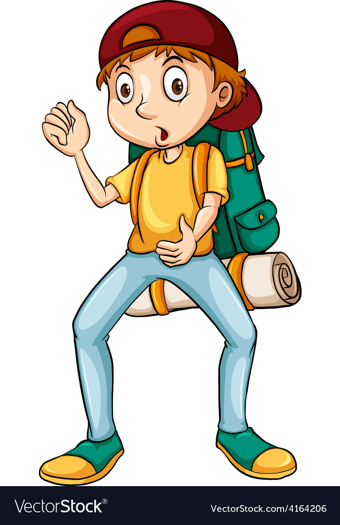 Man carrying a backpack vector | Price: 1 Credit (USD $1)