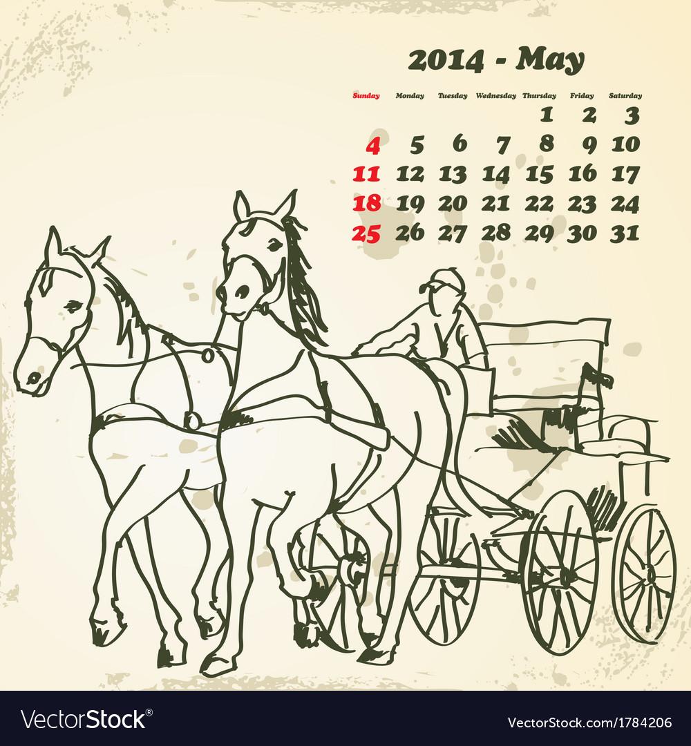 May 2014 hand drawn horse calendar vector | Price: 1 Credit (USD $1)