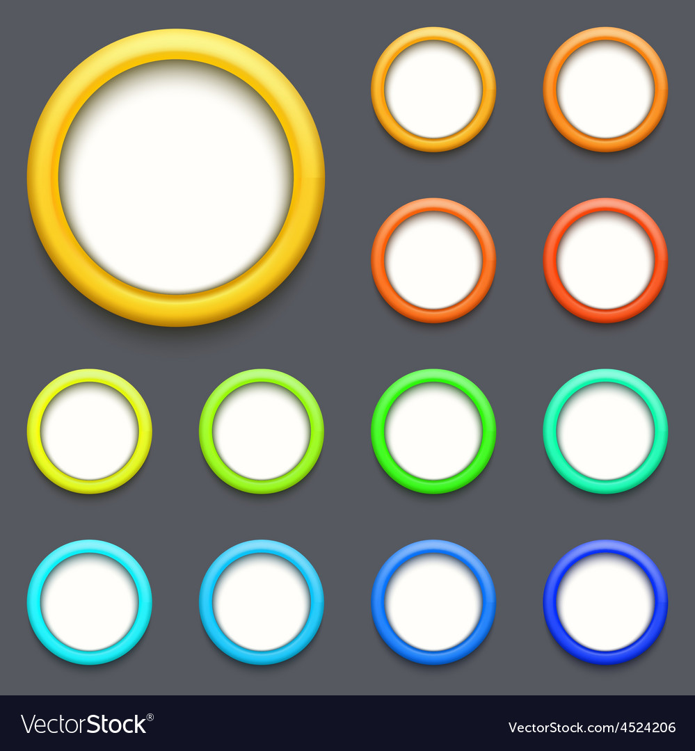 Modern colorful circle button set vector | Price: 1 Credit (USD $1)