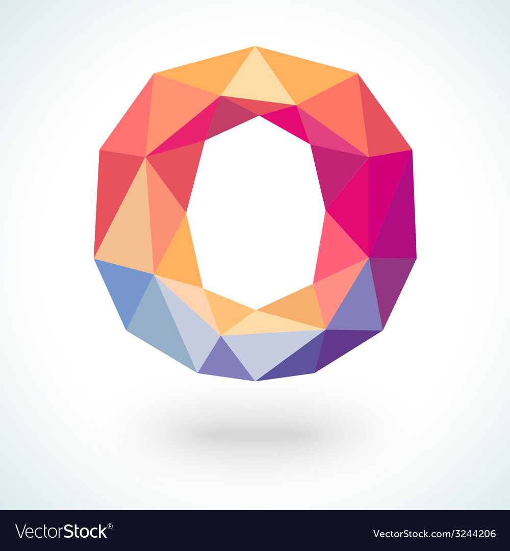 Number zero in modern polygonal crystal style vector | Price: 1 Credit (USD $1)