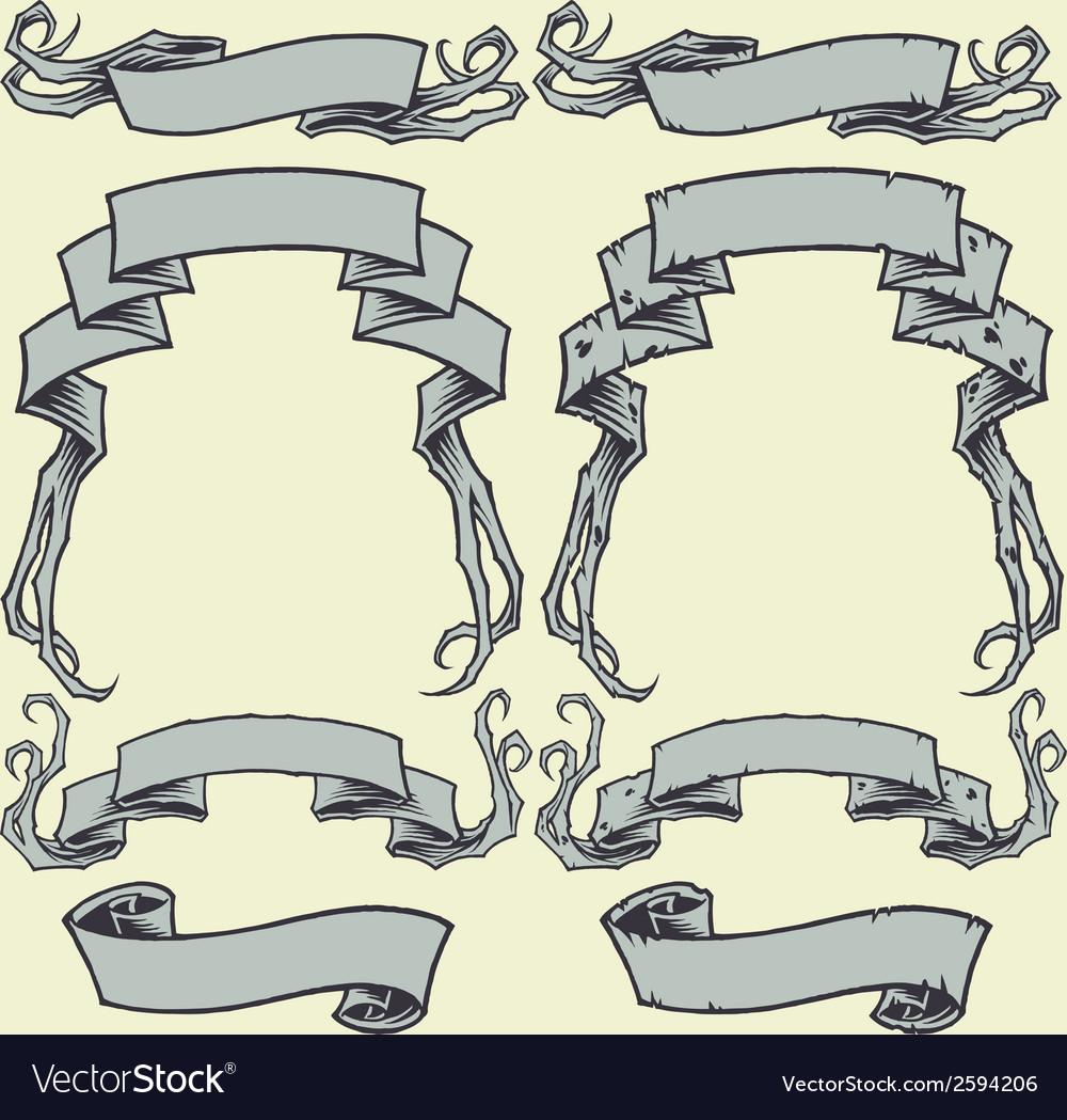 Ribbons and damaged ribbons vector | Price: 1 Credit (USD $1)