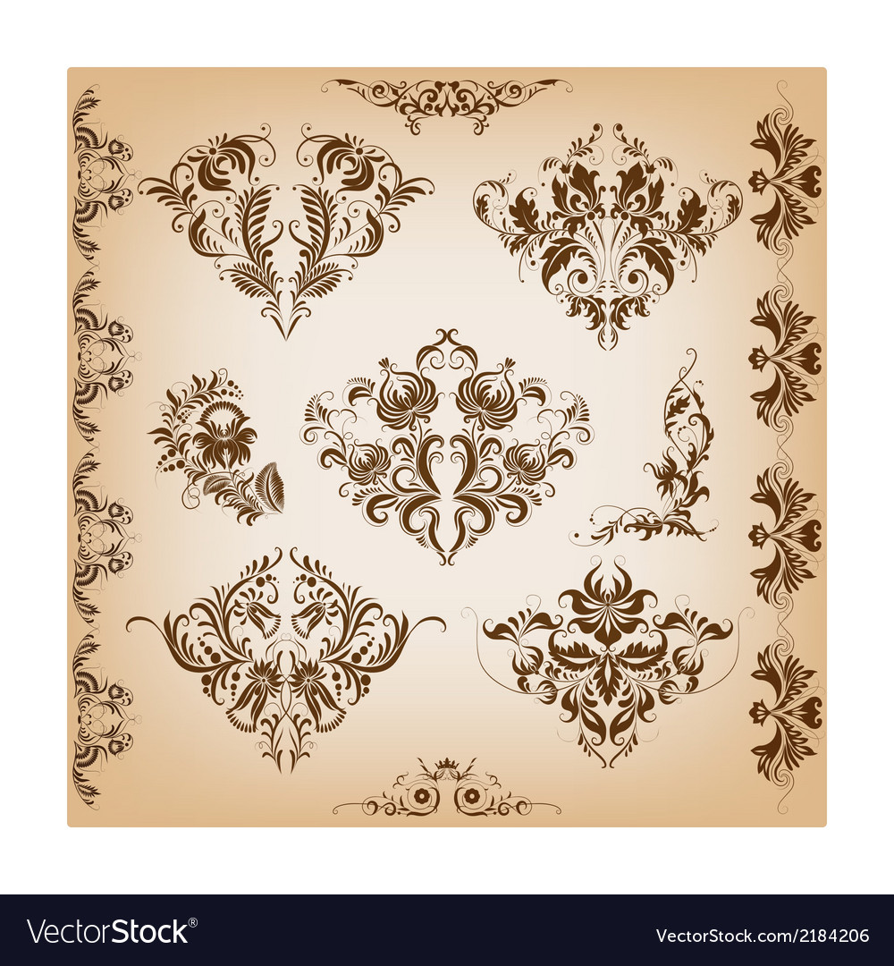 Set of vintage pattern vector | Price: 1 Credit (USD $1)