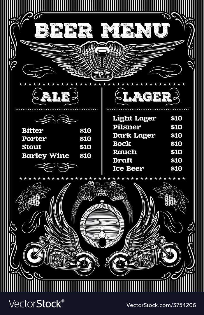 Template for the beer menu on black background vector | Price: 1 Credit (USD $1)