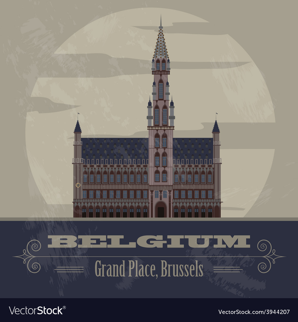 Belgium landmarks retro styled image vector | Price: 1 Credit (USD $1)