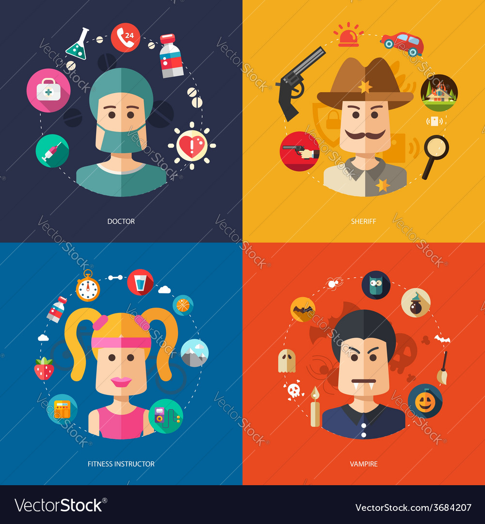 Flat design business with people professions vector | Price: 1 Credit (USD $1)