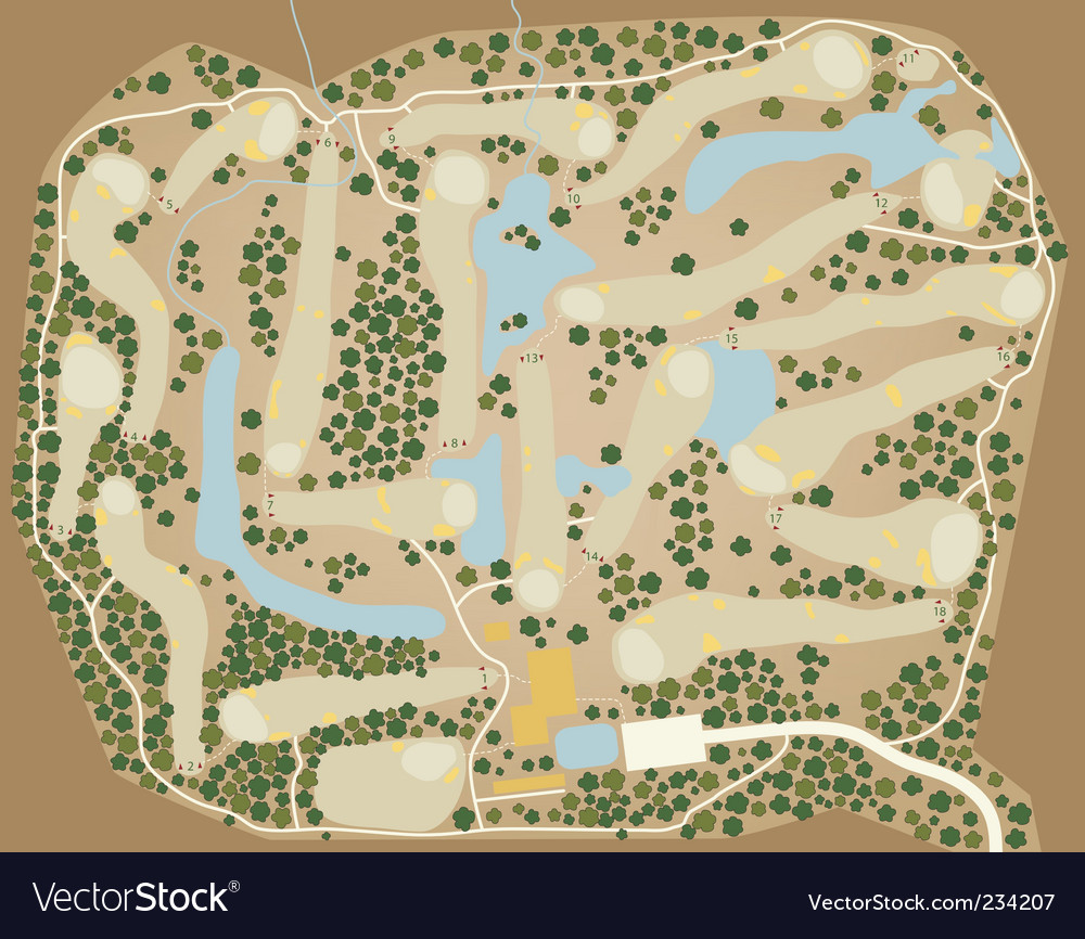 Golf course map vector | Price: 1 Credit (USD $1)