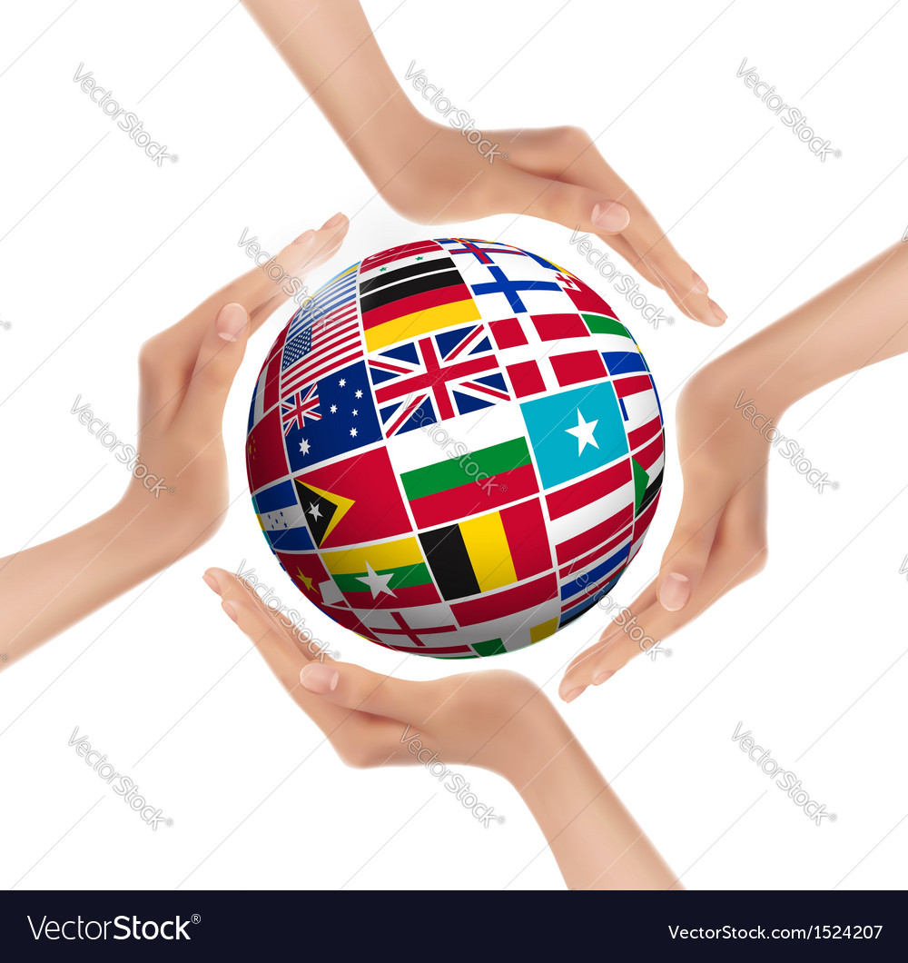 Hands holding globe with flags of world vector | Price: 1 Credit (USD $1)
