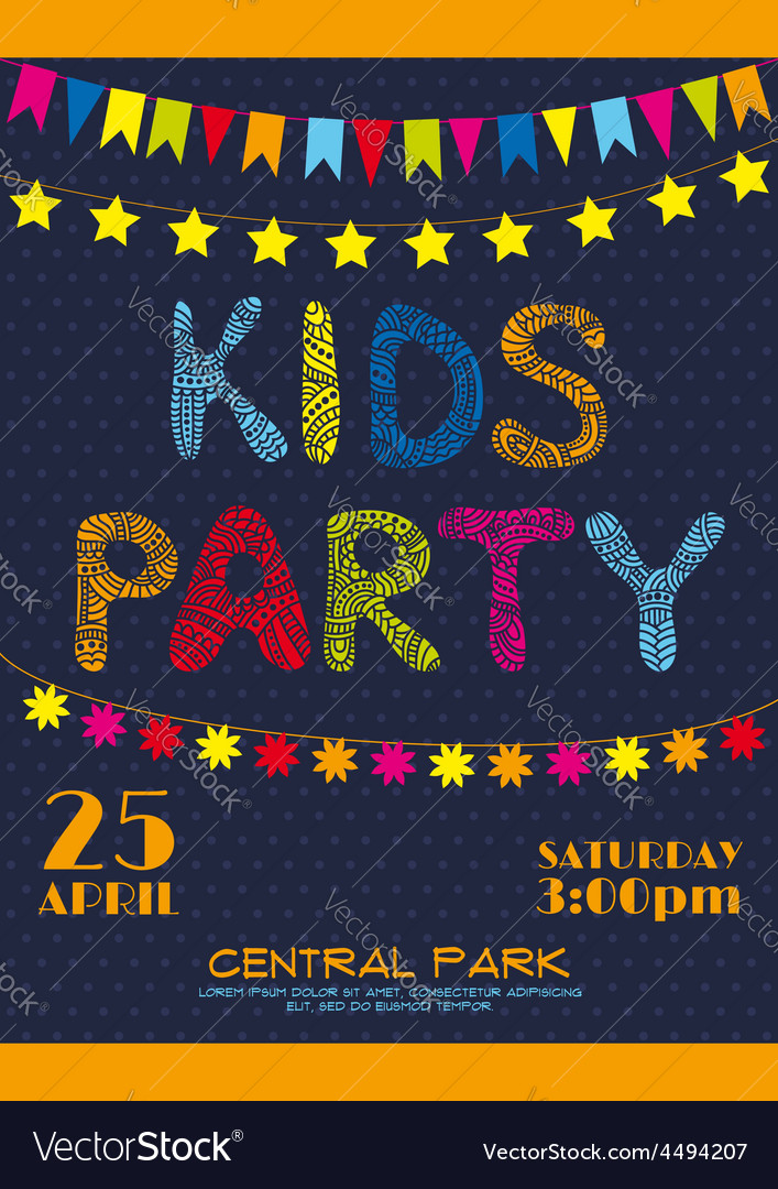 Kids party invitation poster vector | Price: 1 Credit (USD $1)