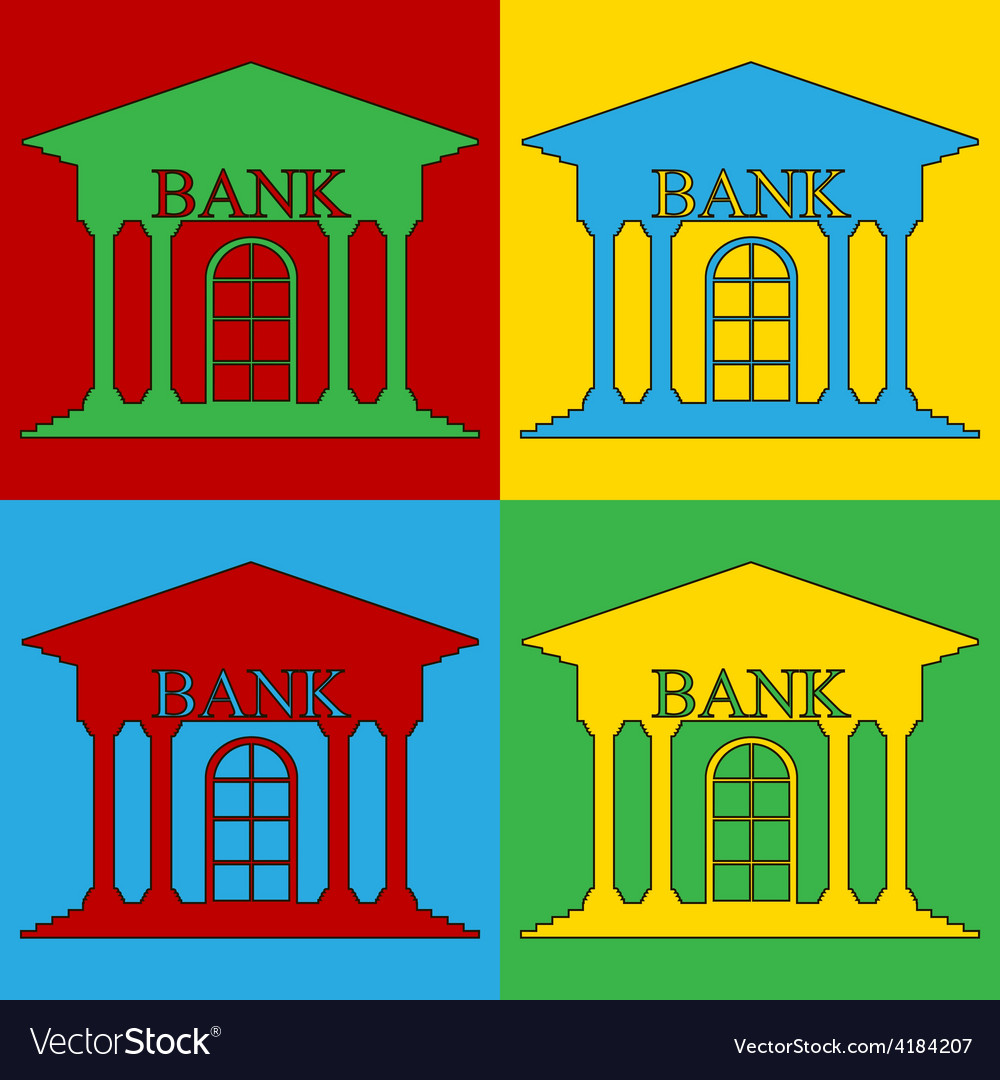 Pop art bank icons vector | Price: 1 Credit (USD $1)