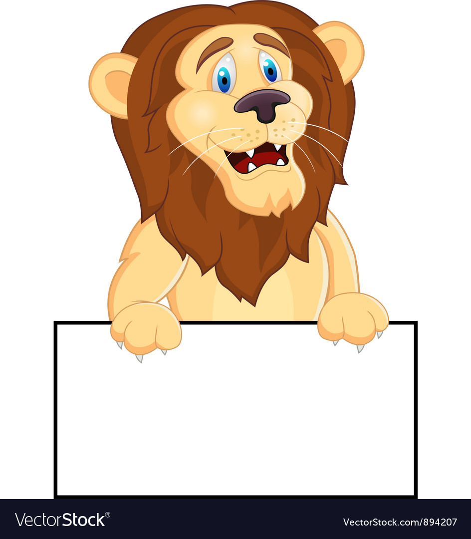 Printlion cartoon with blank sign vector | Price: 3 Credit (USD $3)