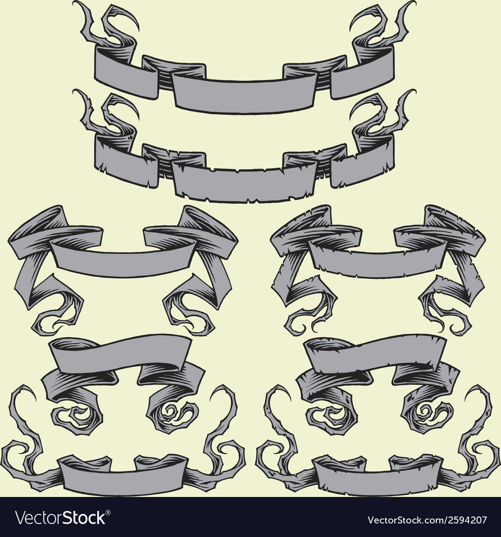 Ribbons and damaged ribbons vector | Price: 1 Credit (USD $1)