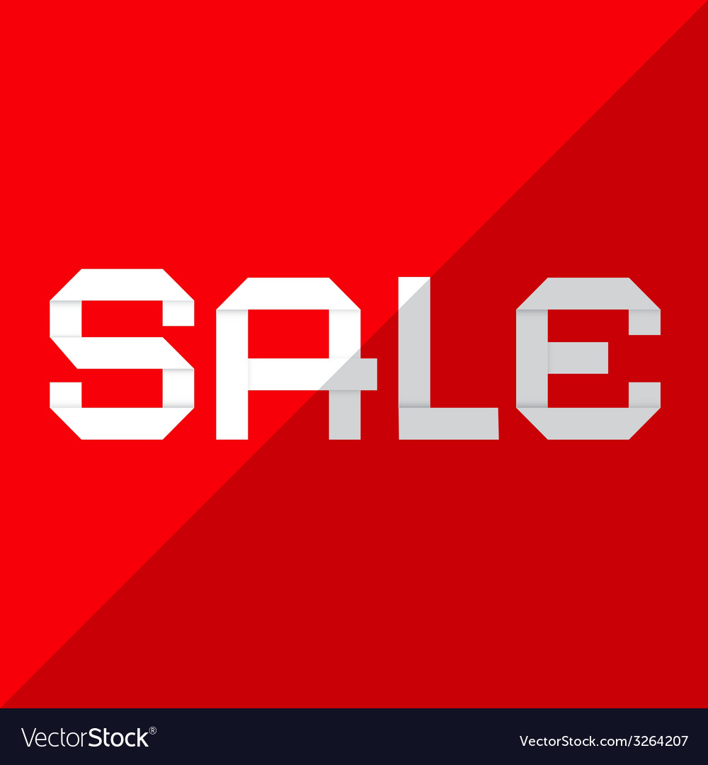 Sale paper title on red background vector | Price: 1 Credit (USD $1)