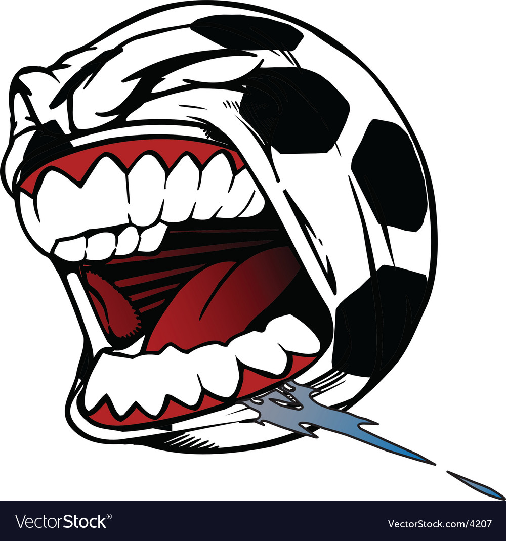 Screaming soccer ball vector | Price: 1 Credit (USD $1)