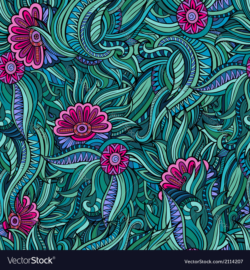 Seamless abstract flowers pattern vector | Price: 1 Credit (USD $1)