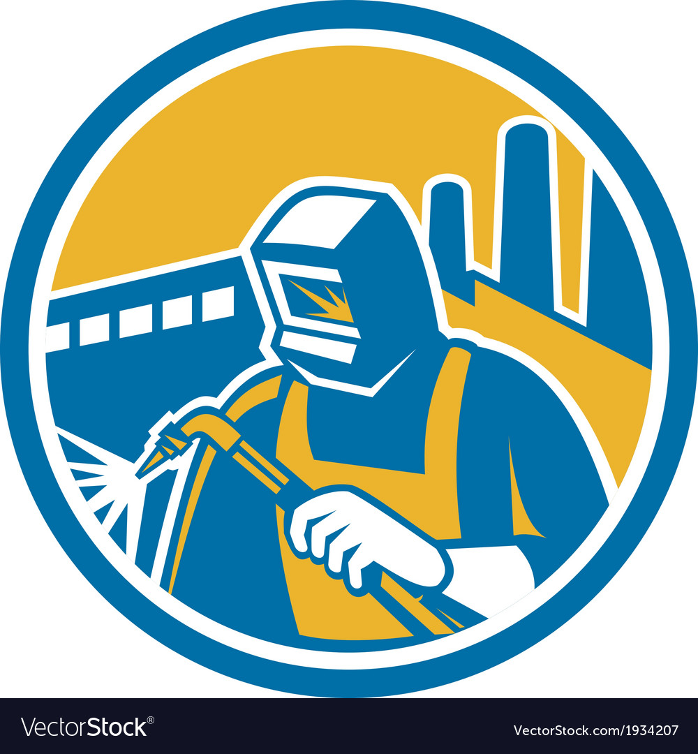 Welder fabricator welding torch factory retro vector | Price: 1 Credit (USD $1)