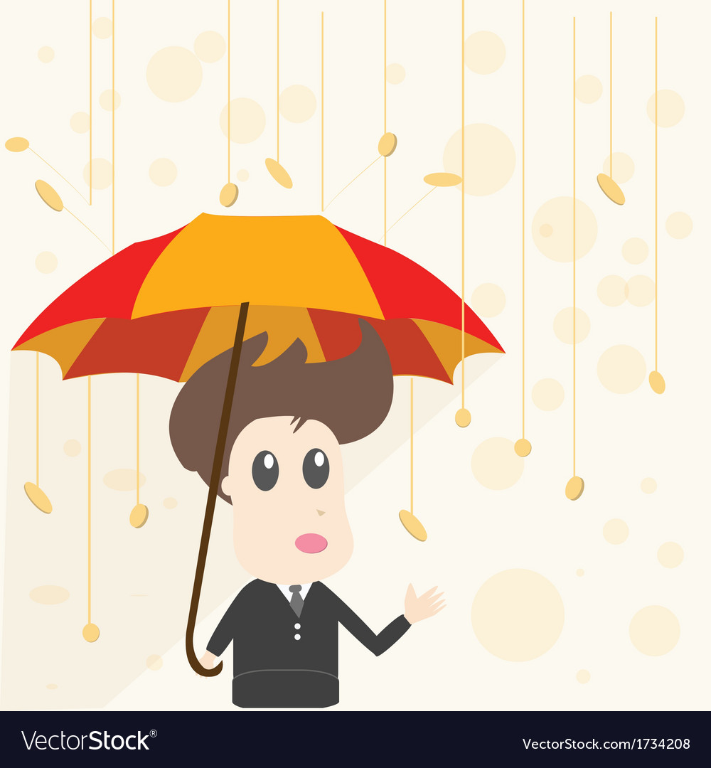 Businessman and money rain vector | Price: 1 Credit (USD $1)