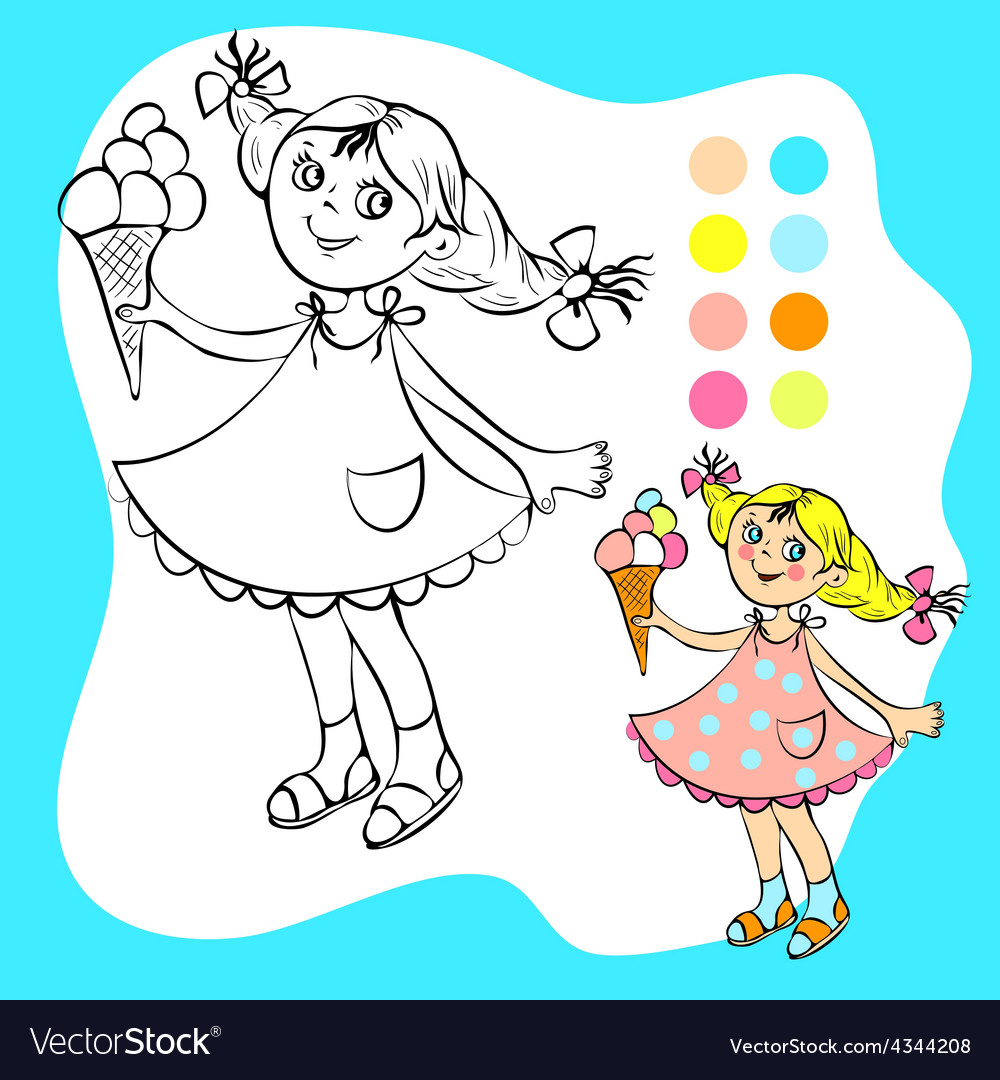 Coloring book  small pretty girl with ice cream vector
