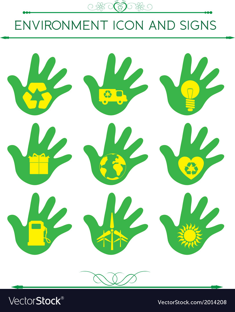 Eco design elements isolated with hand vector | Price: 1 Credit (USD $1)