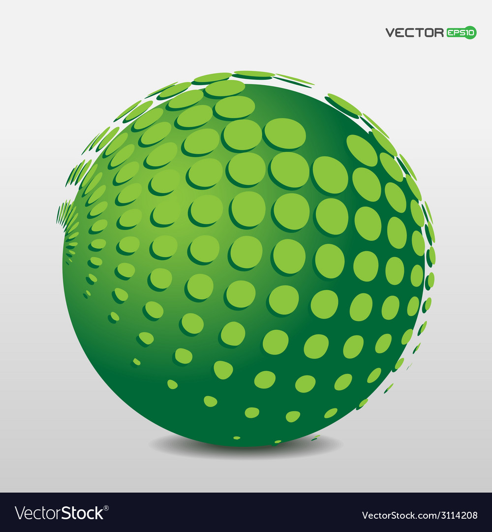 Green phosphorescent ball with floating points vector | Price: 1 Credit (USD $1)