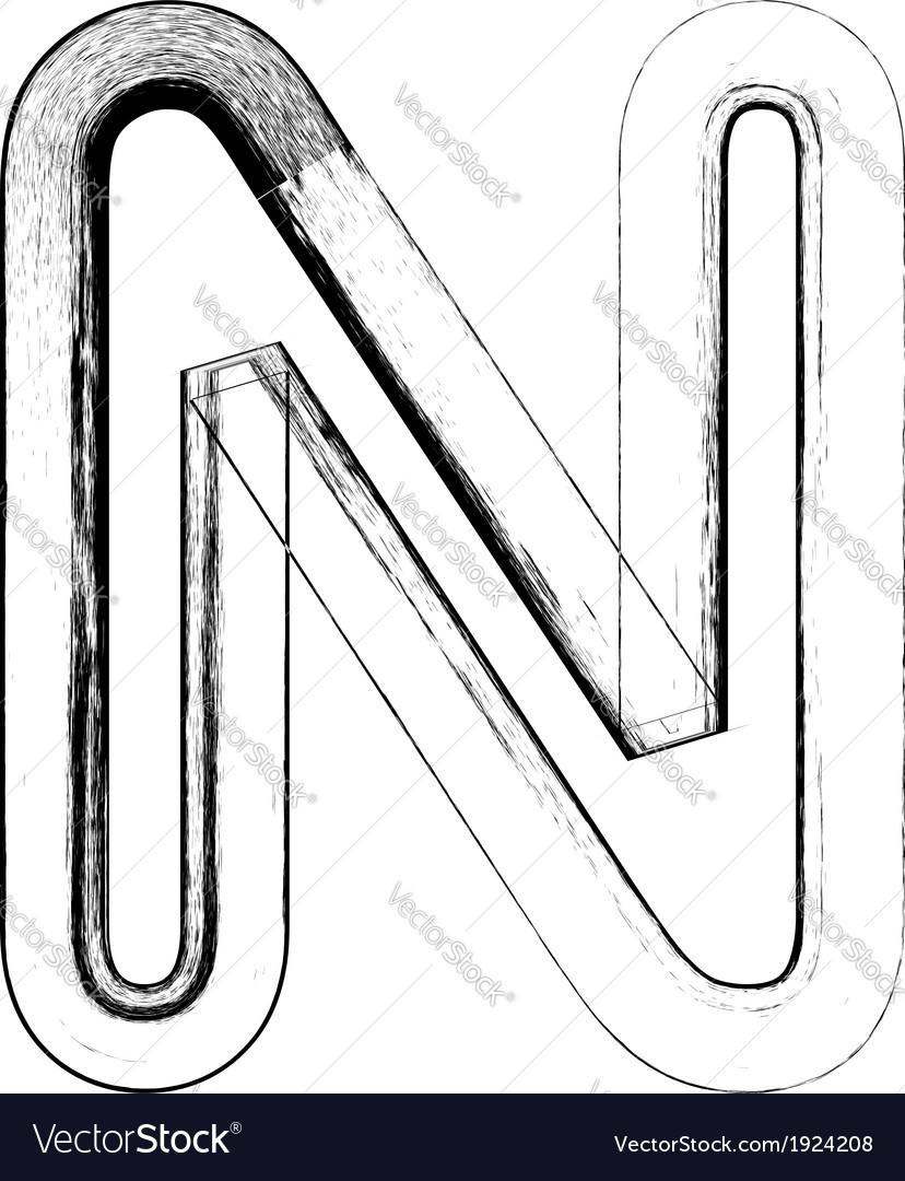 Grunge font letter n vector | Price: 1 Credit (USD $1)