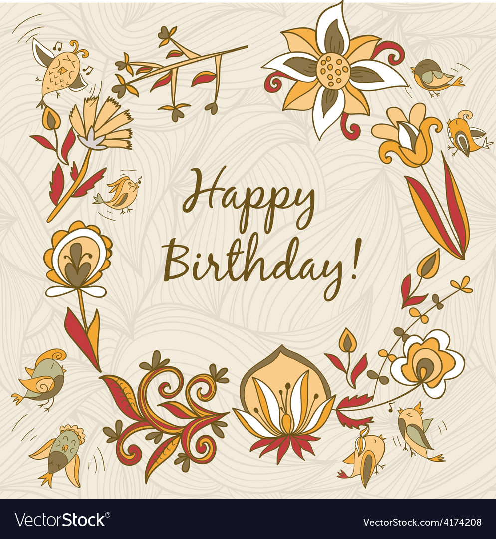 Happy birthday greeting card circle floral frame vector   Price: 1 Credit (USD $1)