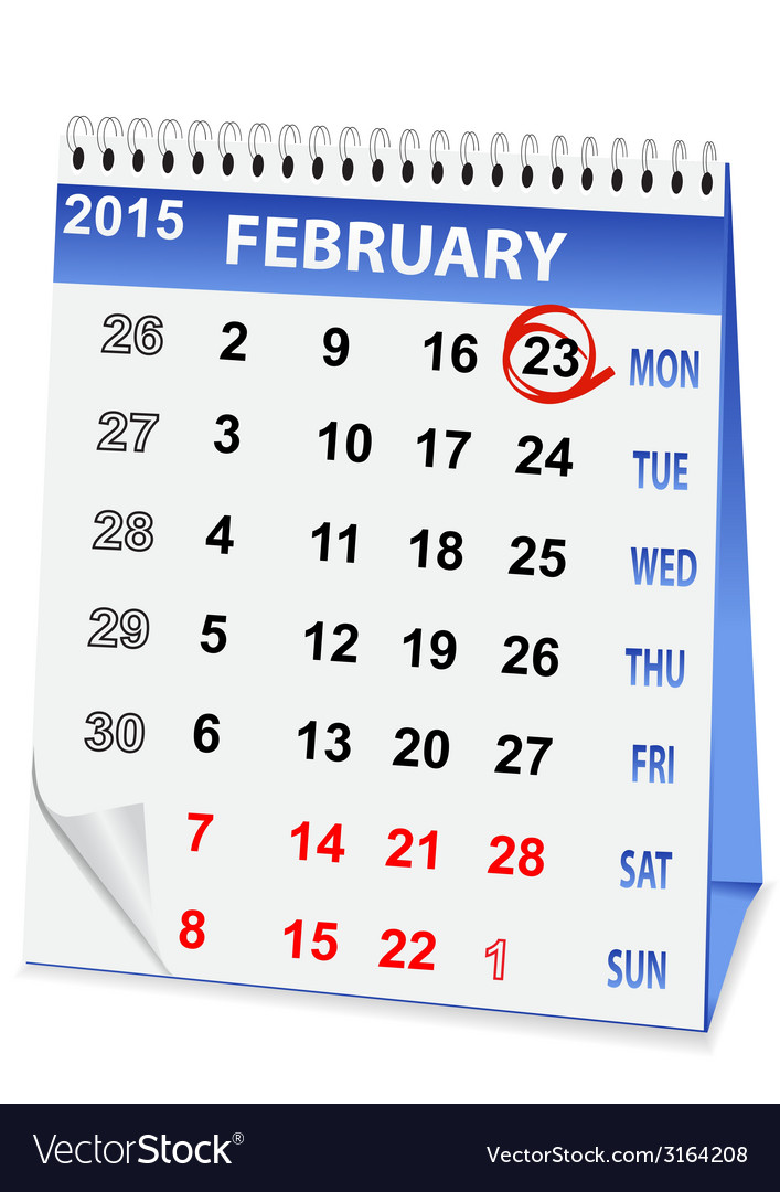 Holiday calendar for 23 february vector | Price: 1 Credit (USD $1)