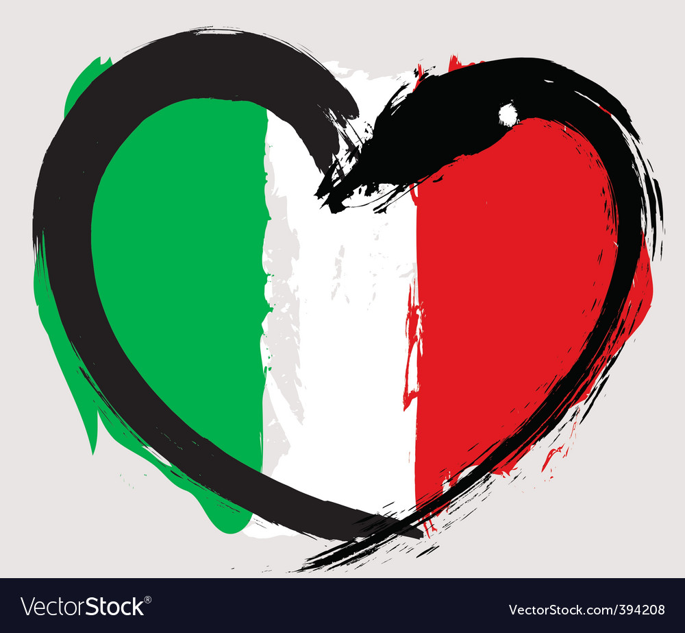 Italian heart shape flag vector | Price: 1 Credit (USD $1)