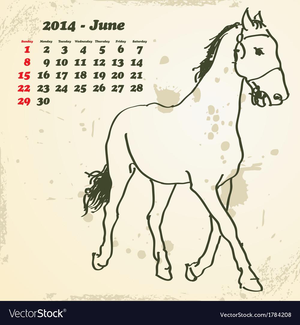 June 2014 hand drawn horse calendar vector | Price: 1 Credit (USD $1)