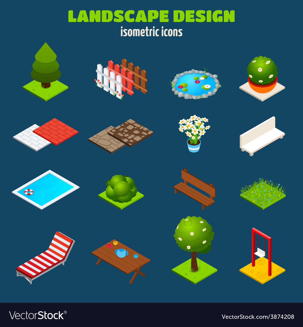 Landscape design isometric icons vector | Price: 1 Credit (USD $1)