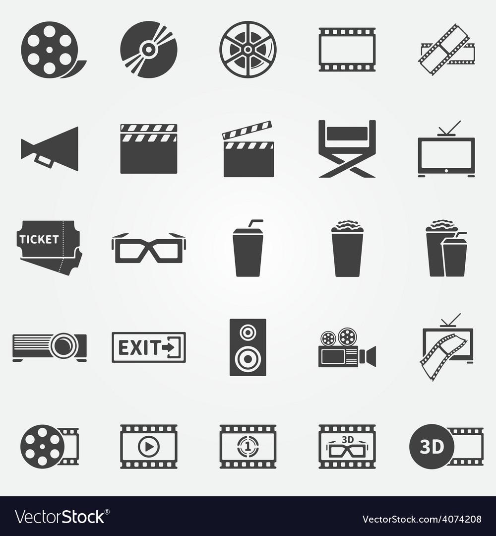 Movie or cinema icons vector | Price: 1 Credit (USD $1)
