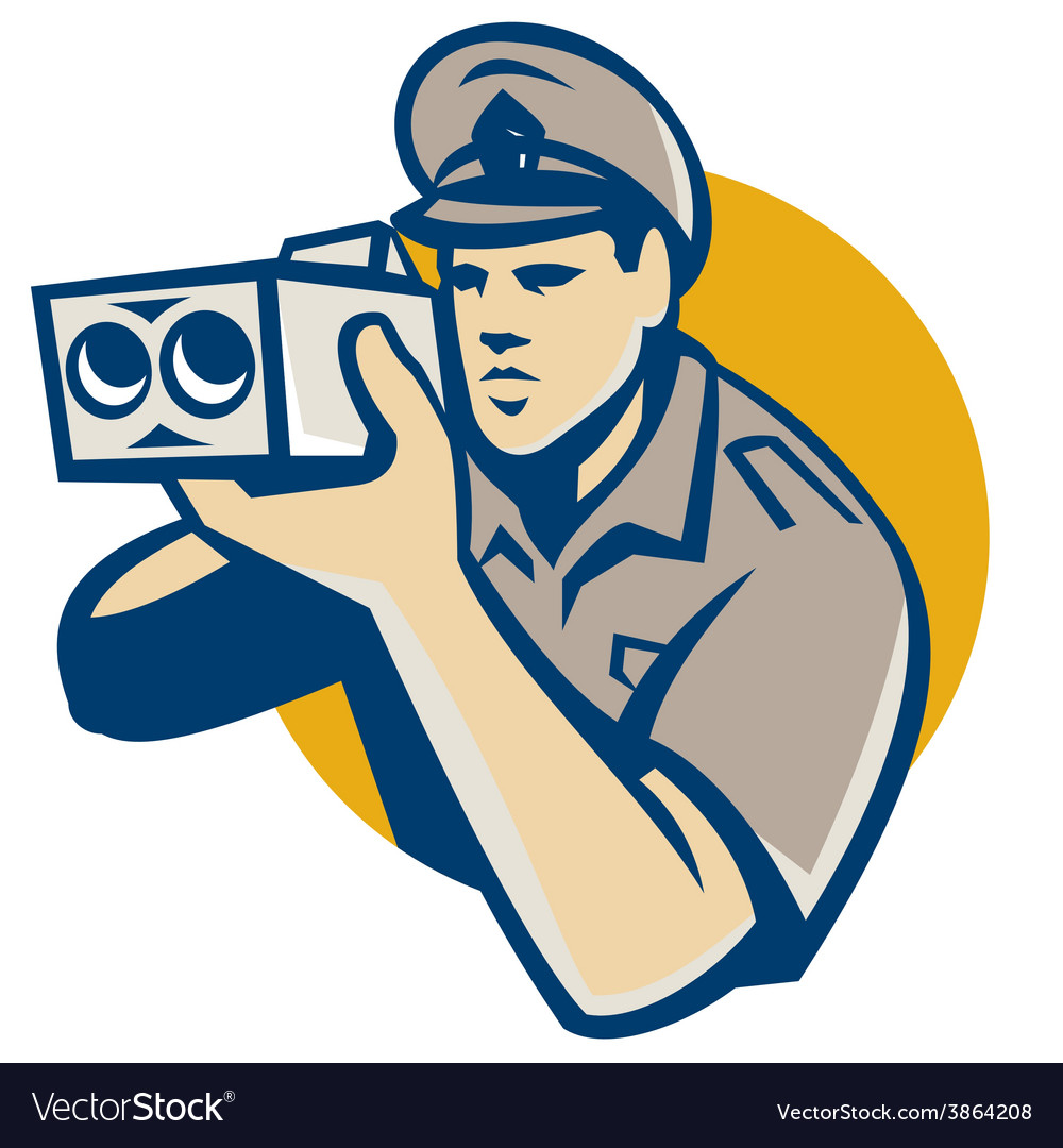 Policeman with police speed camera retro vector | Price: 1 Credit (USD $1)