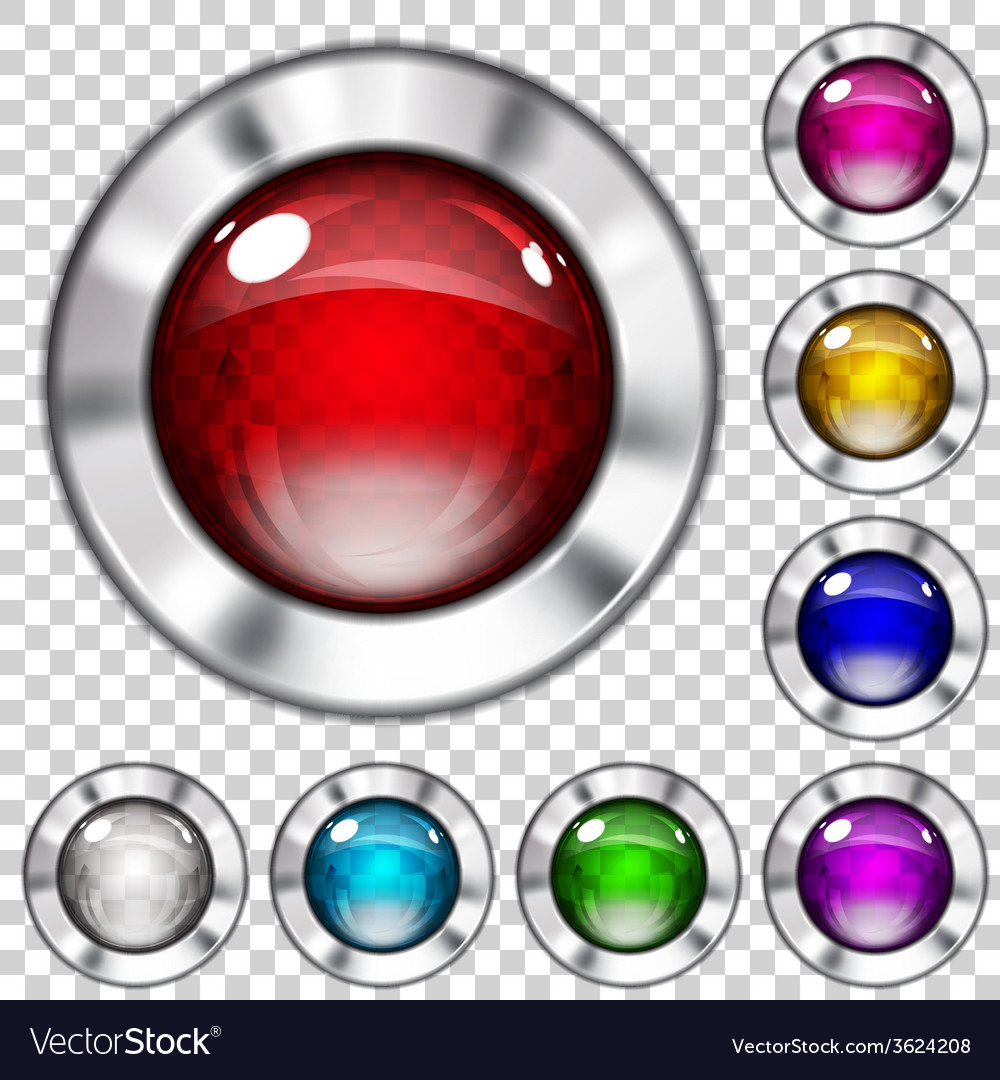 Set of transparent glass buttons vector   Price: 1 Credit (USD $1)