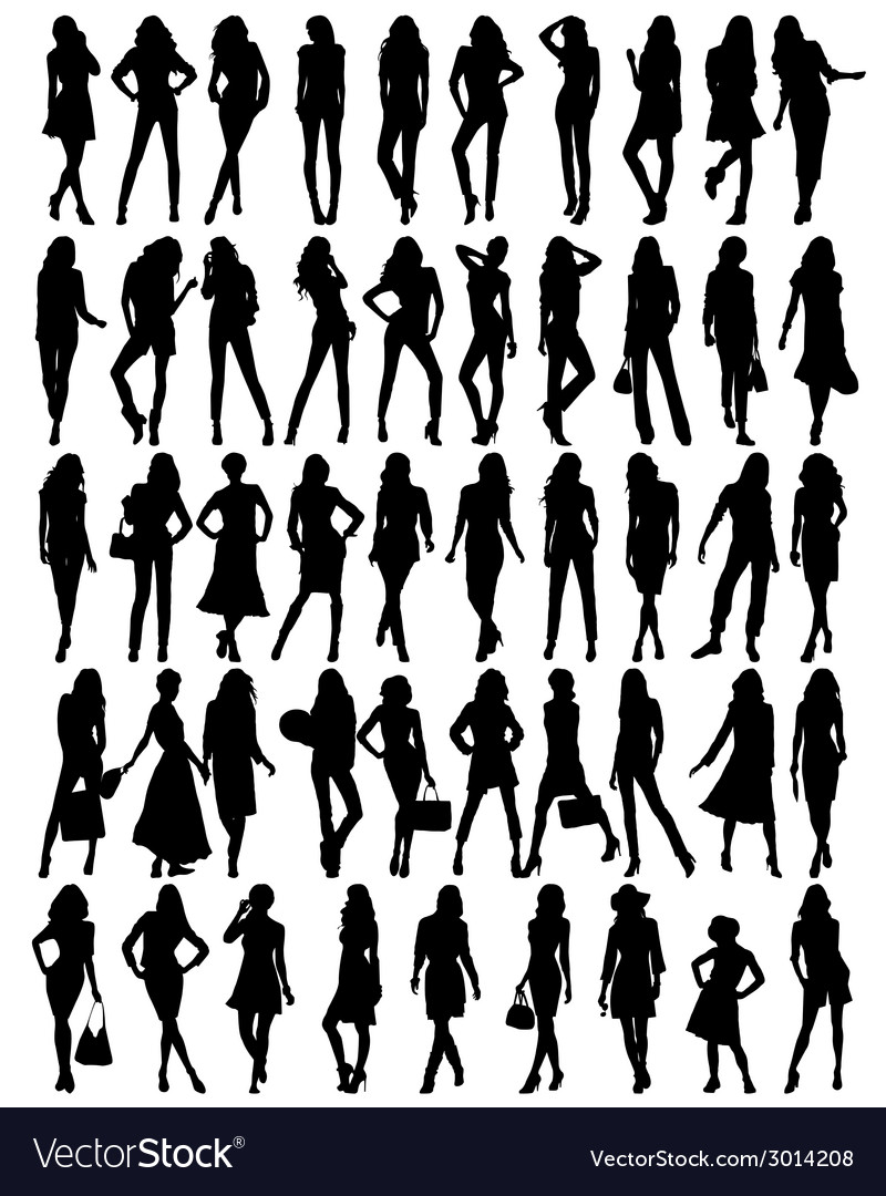 Silhouettes of young pretty women vector | Price: 1 Credit (USD $1)