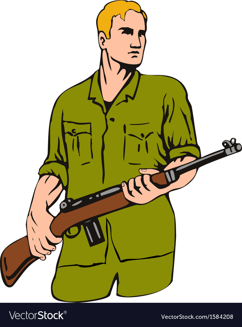 Soldier with gun vector | Price: 1 Credit (USD $1)